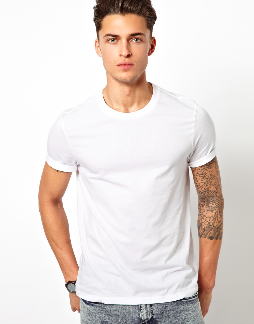 The gallery for blank white t shirts model for Plain t shirt model